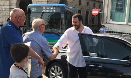 Matteo Salvini a Como a sostegno dei due autisti picchiati