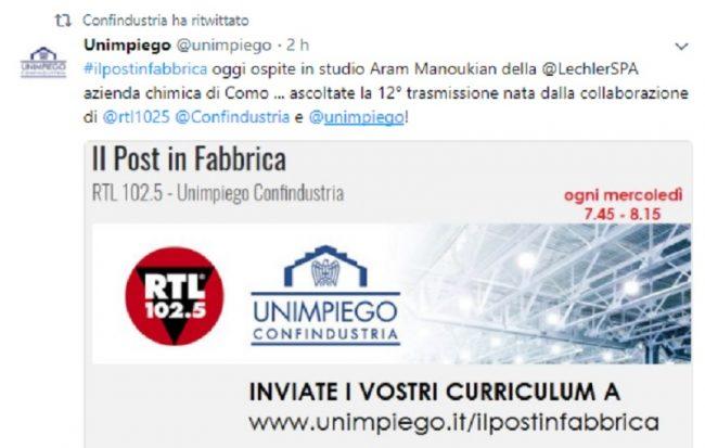 Il Post in Fabbrica di Rtl 1025 ospita la Lechler: &#8220&#x3B;Cerchiamo personale&#8221&#x3B;