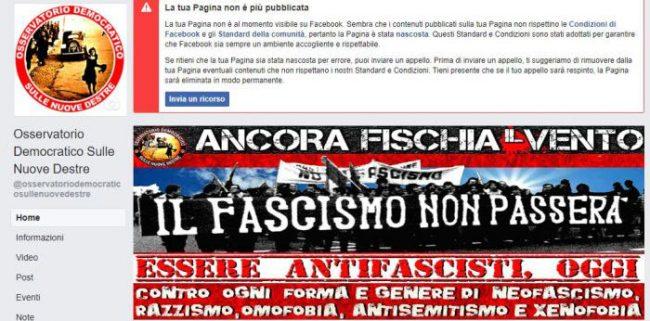 Facebook rimuove la pagina Osservatorio Democratico sulle nuove destre: &#8220&#x3B;E&#8217&#x3B; gravissimo&#8221&#x3B;