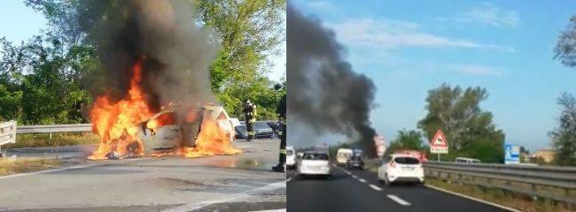 Paura per un&#8217&#x3B;auto in fiamme sulla Statale 36 FOTO