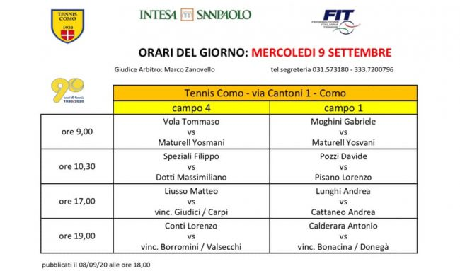 Tennis como partite del 9 settembre