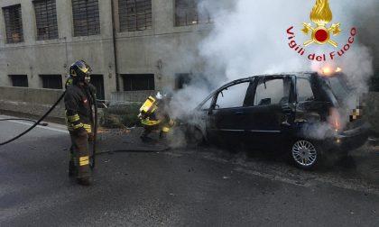 Auto in fiamme a Como  FOTO