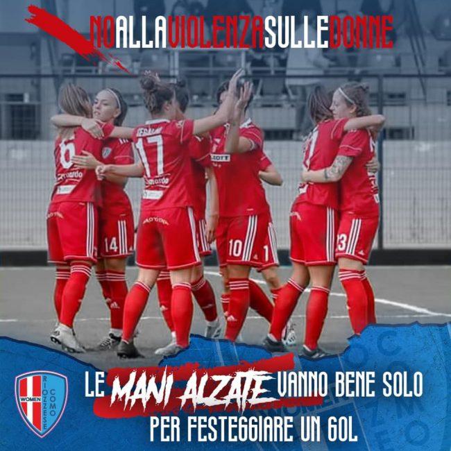 Calcio femminile Como women contro la violenza sulle donne
