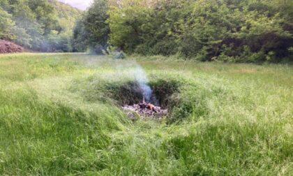 Ignoto dà fuoco alla spazzatura nei boschi, interviene il sindaco