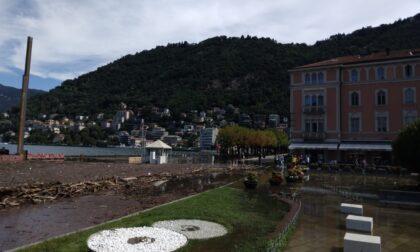 Lago esondato a Como, invasione di detriti sul lungolago: ruspe al lavoro per rimuoverli