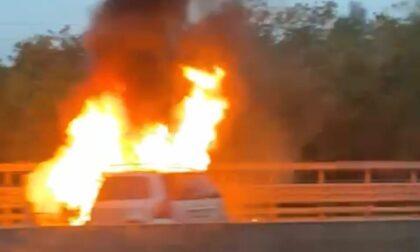 Auto in fiamme sulla Ss36