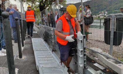 """Paratie, visita dell'assessore Sertori: """"Consegna slitta a ottobre 2022, a montare la barriera in caso di emergenza la Protezione Civile"""""""